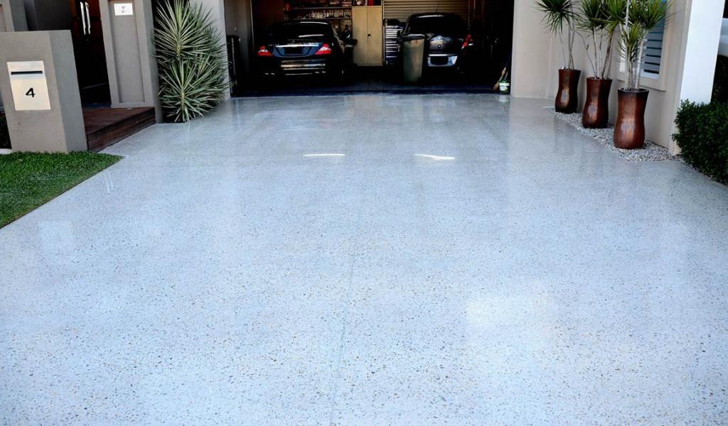 how to polish concrete driveway