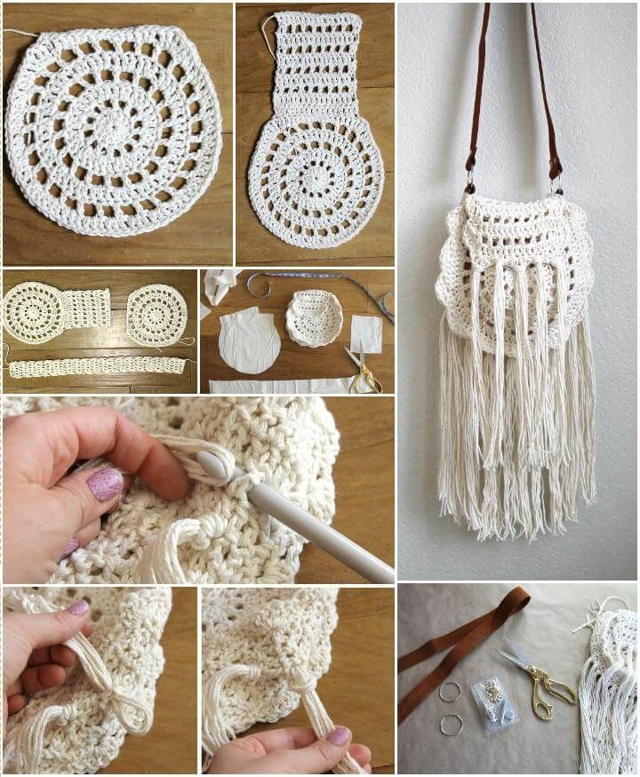 Easy Crochet Boho Tassel Bag Pattern - Crochet - Tutoriales