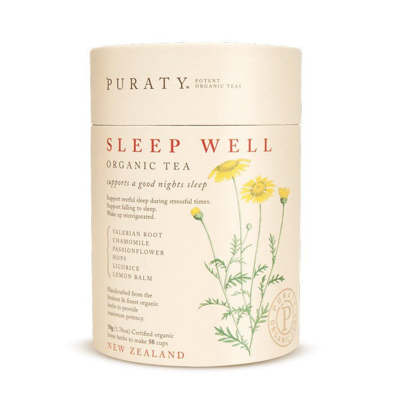 Puraty Sleep Well Organic Tea From New Zealand With Chamomile Flowers Hops Flowers Lemon Balm Licorice Root Passion Flower Valeria Sleep Tea Tea Chamomile Tea