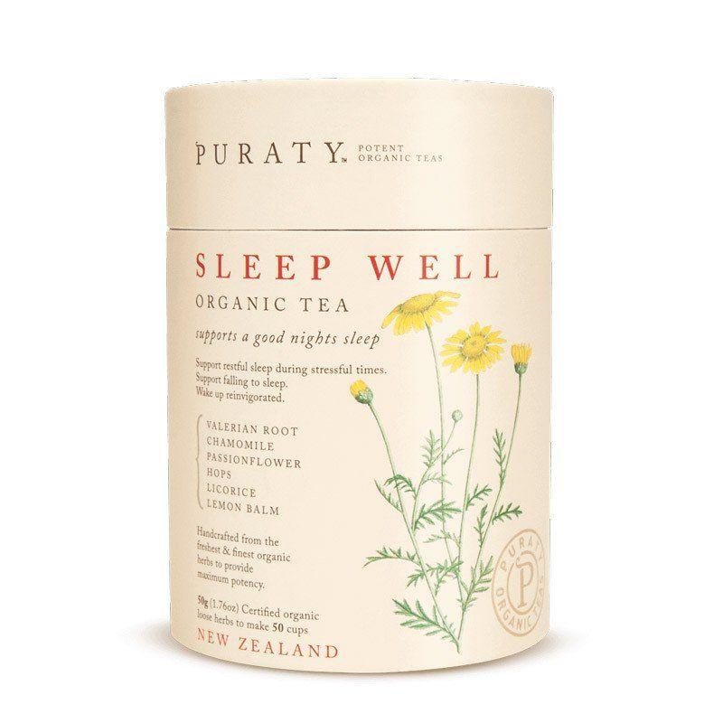 Puraty Sleep Well Organic Tea From New Zealand With Chamomile Flowers Hops Flowers Lemon Balm Licorice Root Passion Flower Valeria Sleep Tea Tea Chamomile Tea