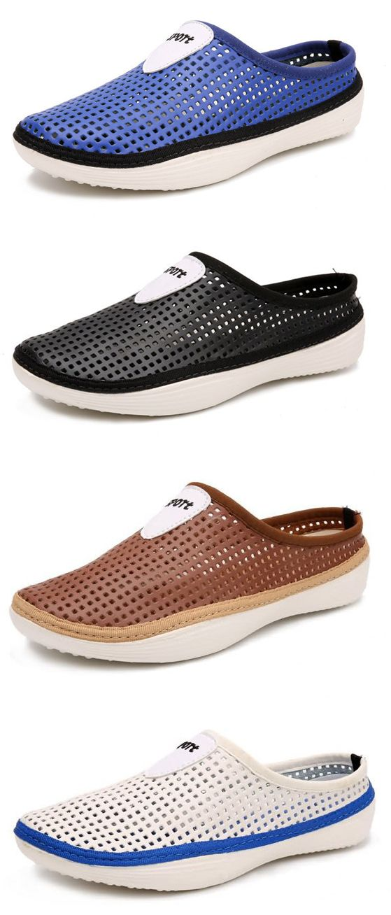 Men Hollow Out Breathable Backless Shoes Slip On Light Beach