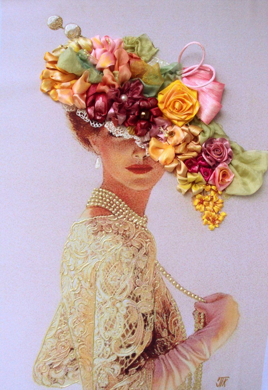 """Quadro """"Dama"""", realizzato in tecnica Silk ribbon embroidery"""