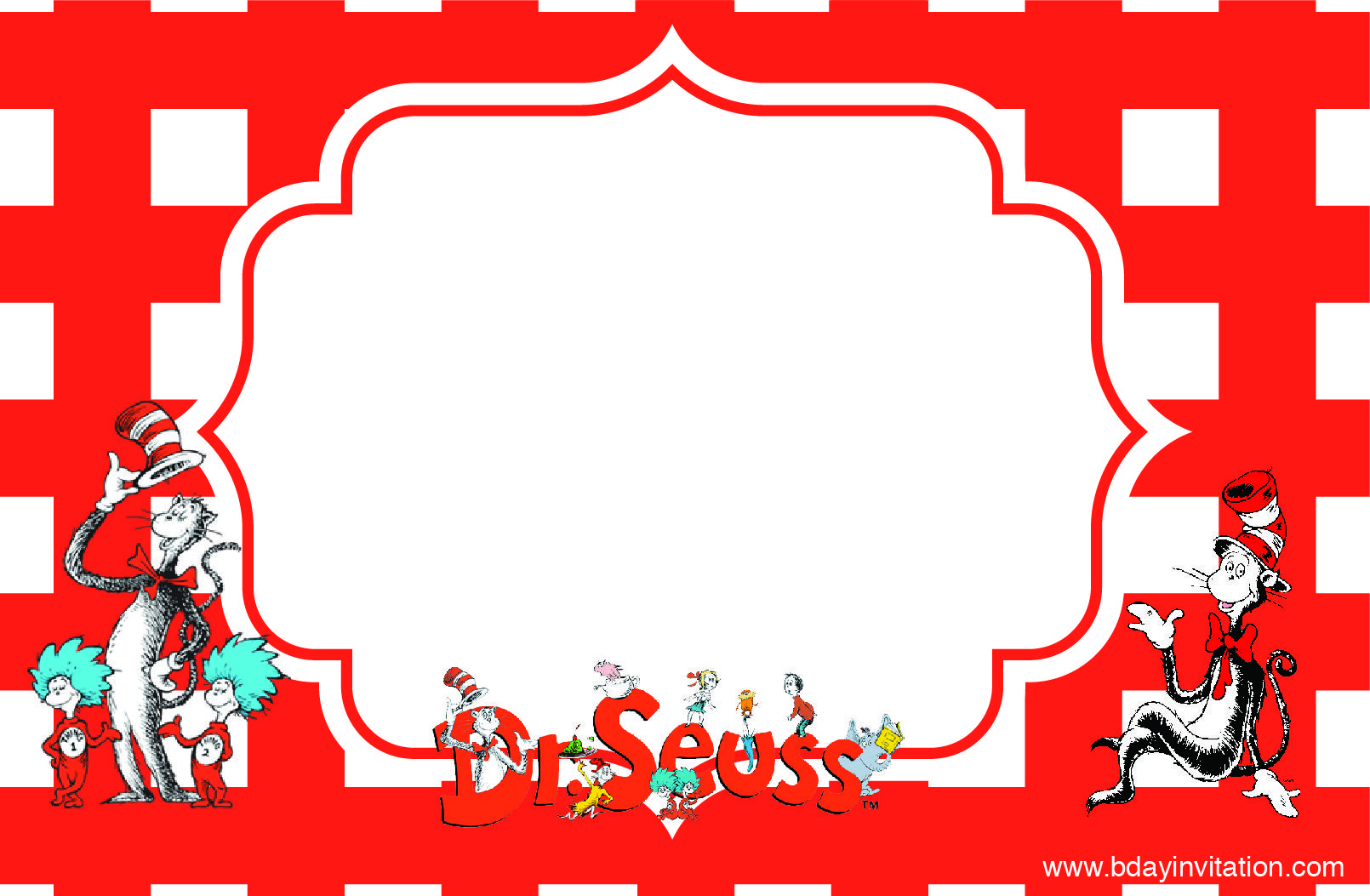 Download FREE Printable DrSeuss Birthday Invitation Template FREE - Dr seuss birthday invitations templates