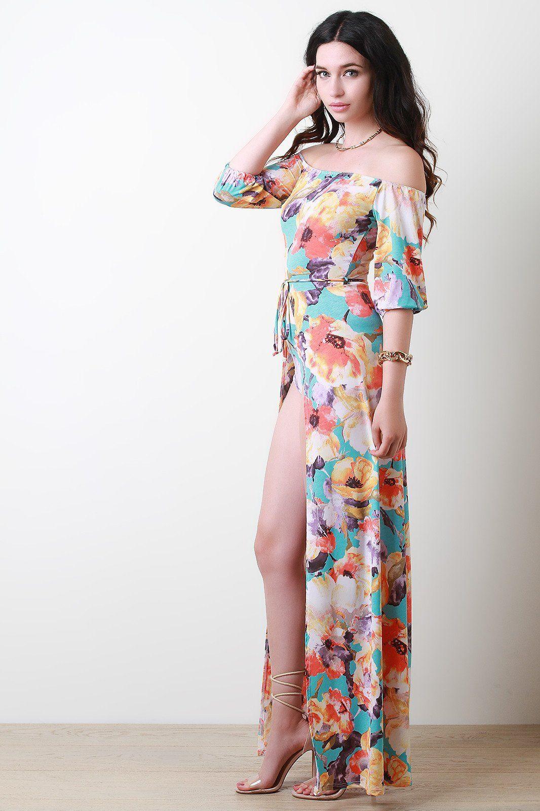 Floral open front bardot waist tie bodysuit maxi dress products