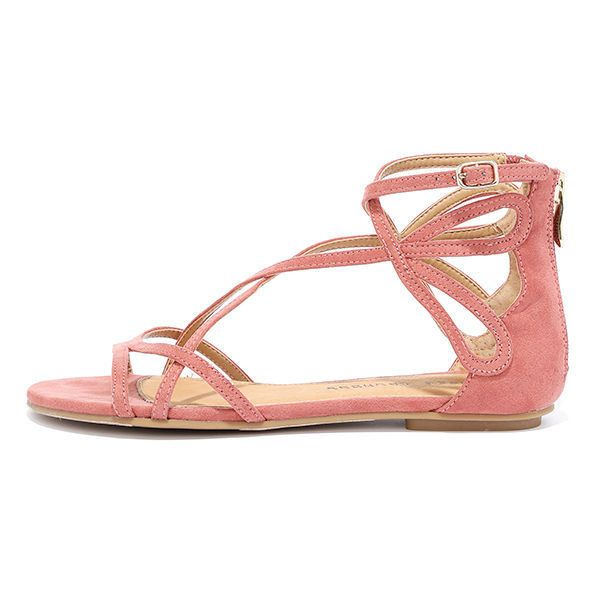 Chinese Laundry Penny Sunset Rose Suede Gladiator Sandals ($60) ❤ liked on  Polyvore featuring