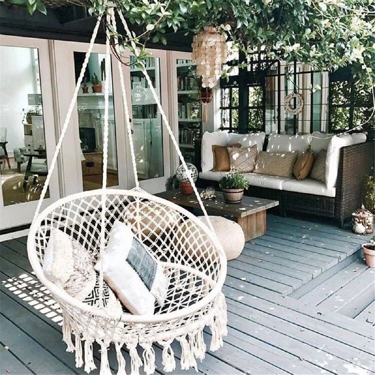 Grtsunsea Hanging Hammock Mesh Woven Rope Macrame Wooden Bar Chair Swing Outdoor Home Garden Patio Chair Seat Install Tool Home Decor Gift Walmart Com In 2020 Swing Chair Outdoor Hanging