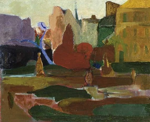 Wim Oepts - A TOWN VIEW, oil on canvas