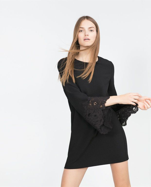 GUIPURE LACE FLARED SLEEVE DRESS