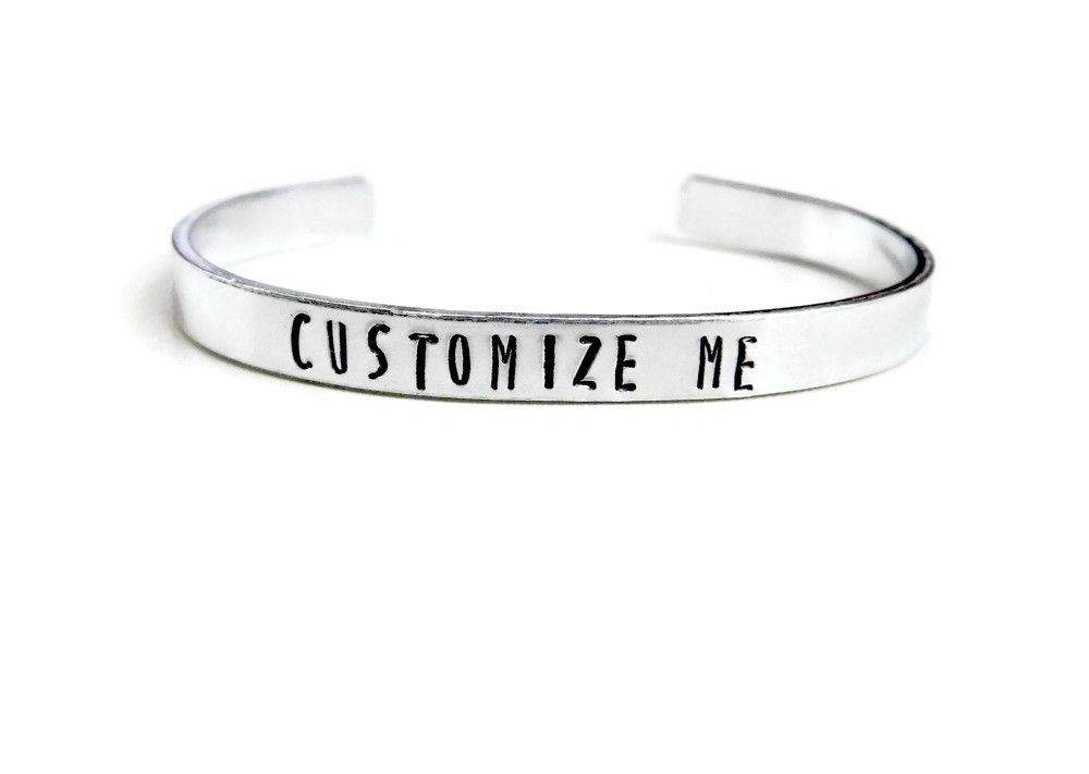 Custom Bracelet Unisex Stamped Cuff Personalized Gift Customized Message Quote Christmas Birthday