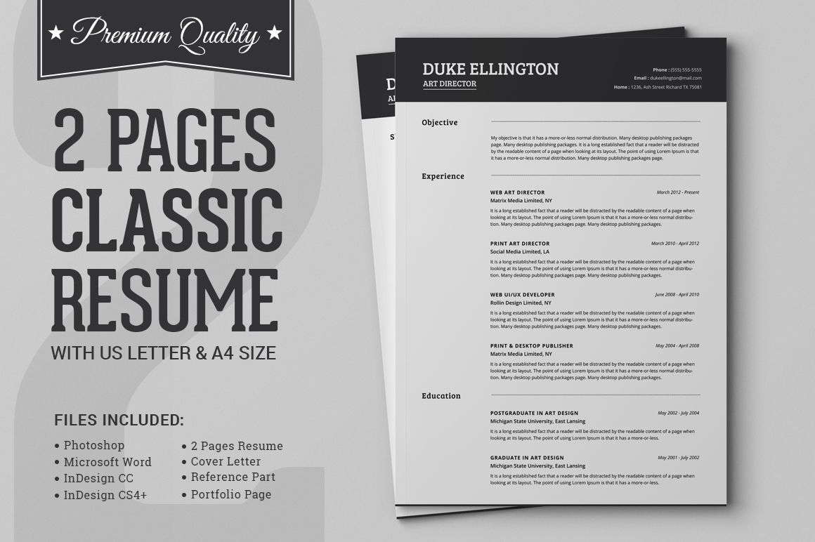 Two Pages Classic Resume Cv Template By Snipescientist On Creative