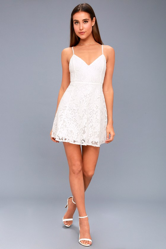 cb860df83da5a Lulus   Magnolia Blossom White Lace Skater Dress   Size Medium   100 ...