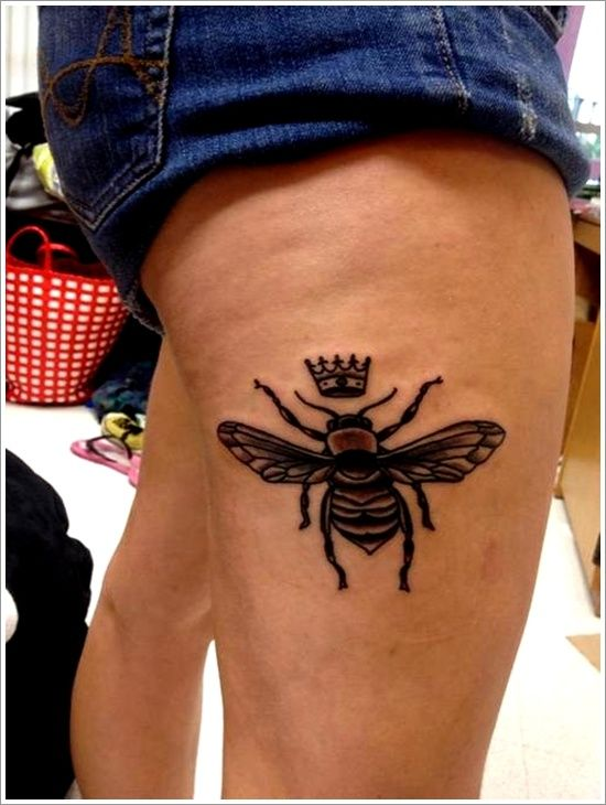 Queen Bee Tattoo Designs On Thigh Images Honey