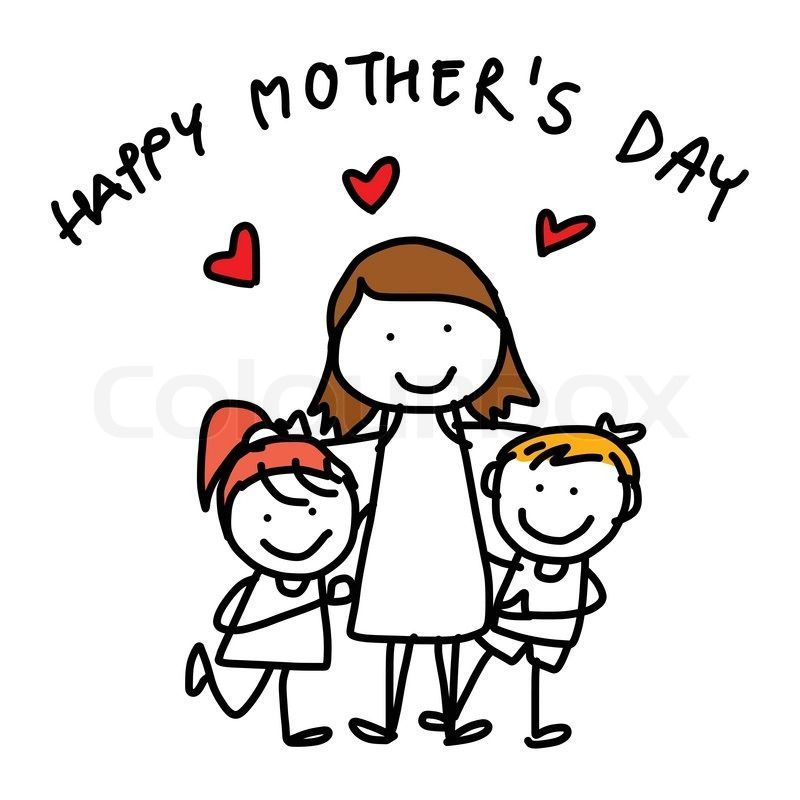 Simple Kids Bedroom Clipart Mothers Day Drawings Mothers Day Cartoon Cartoon Drawings