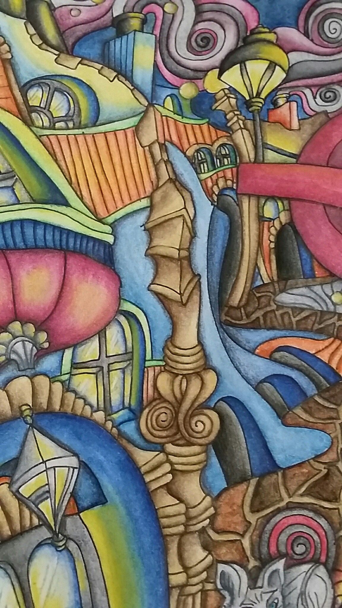 Th the magical city colouring in book - Close Up Of The Magical City Adult Coloring Book Soho Page Inktense