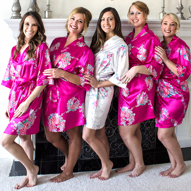 97107038b7 Custom Personalized Floral Bridal Party Robes - Monogrammed Robes - Embroidered  Robes - Rhinestone Bridal Party Robes in Satin