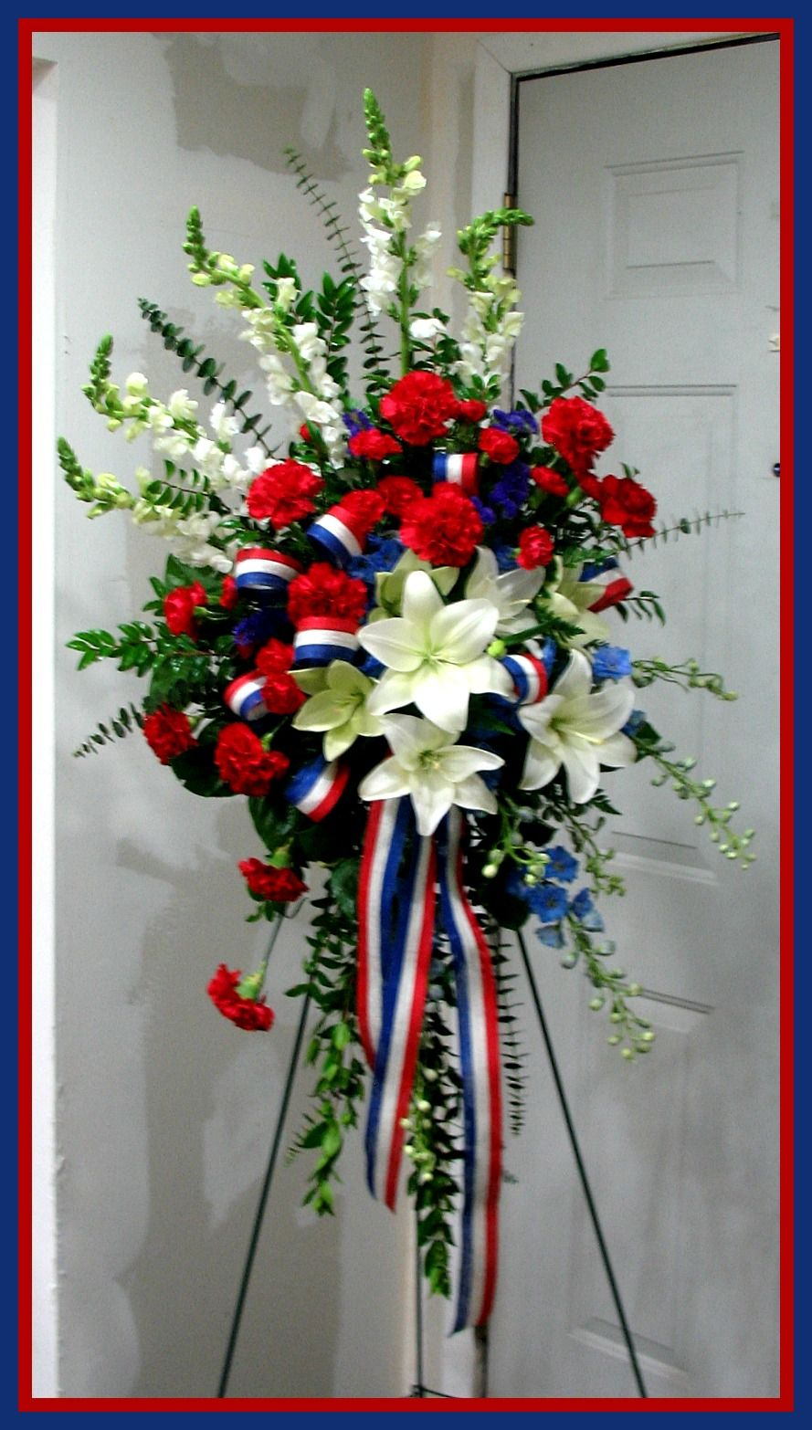 Patriotic Funeral Standing Spray Funeral Flower