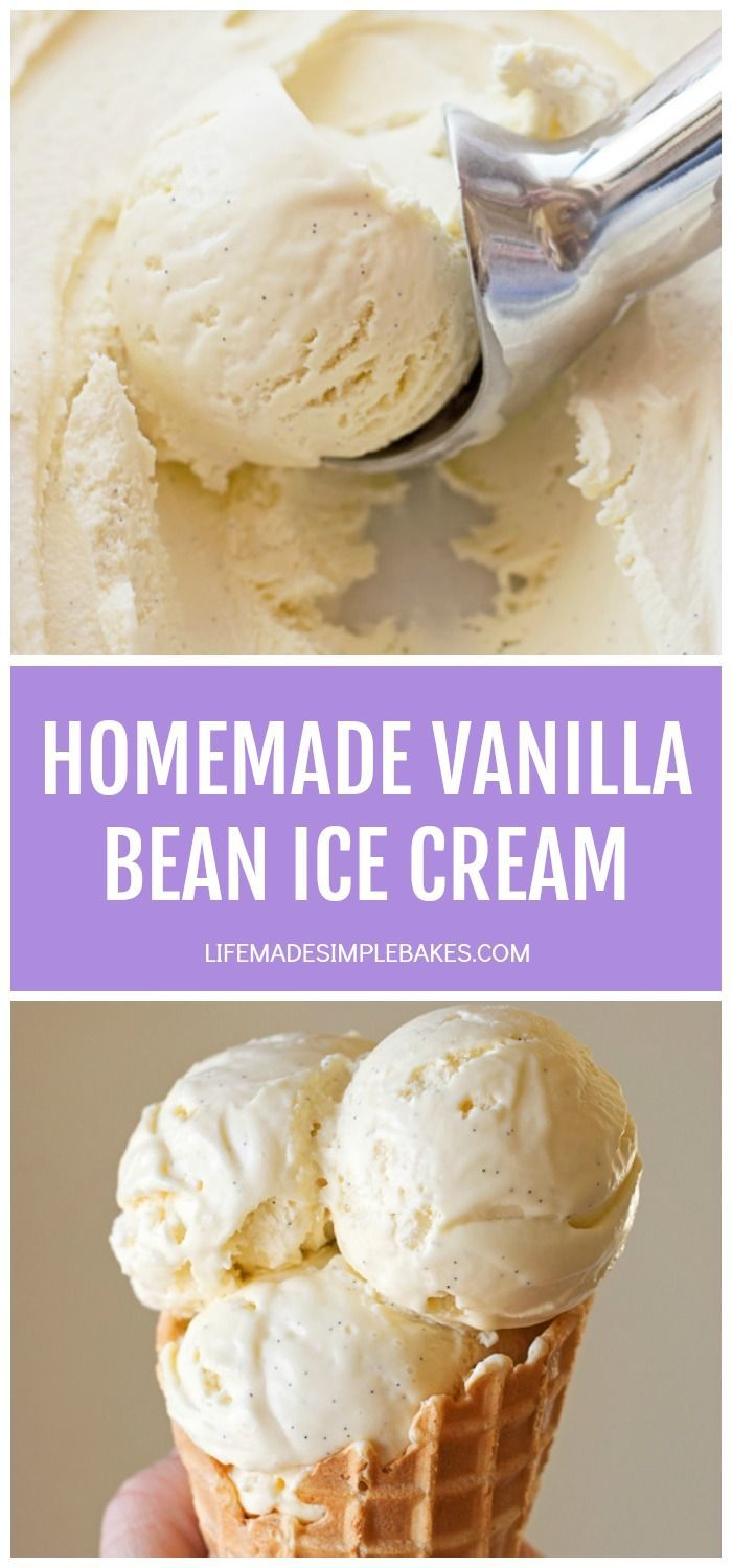 This isn't your grandma's hard and icy vanilla ice cream!! This homemade vanilla bean ice cream is sweet, creamy and bursting with specks of vanilla bean. It'll forever be a favorite! #homemadevanillabeanicecream #vanillabeanicecream #homemadeicecream #icecream #vanillabean