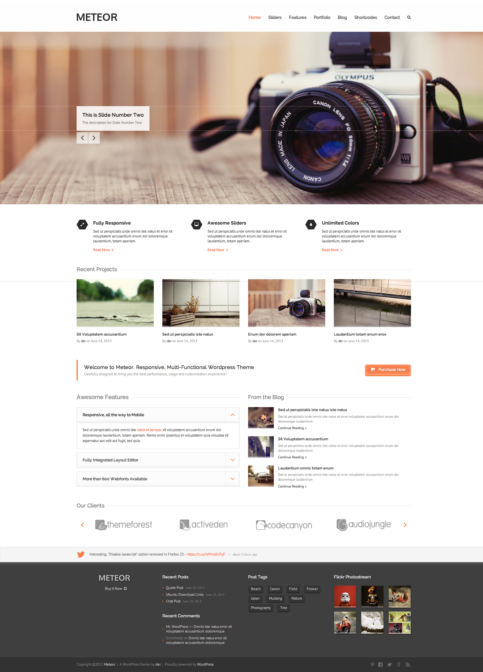 Awesome css designs - Meteor Retina Responsive Wordpress Theme Wordpress Theme Template Webdesign Webpage