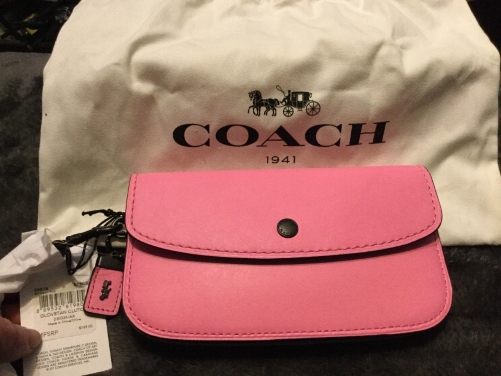 1208a0fb1f Coach 1941 Neon Pink Glovetanned Leather Clutch  Wristlet 58818 NWT ...