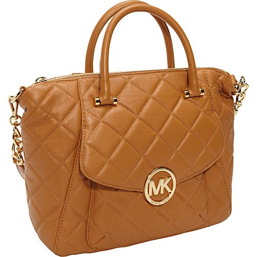 MICHAEL Michael Kors Fulton Quilted Large Top Zip Satchel Tan ... : michael kors fulton quilted tote - Adamdwight.com
