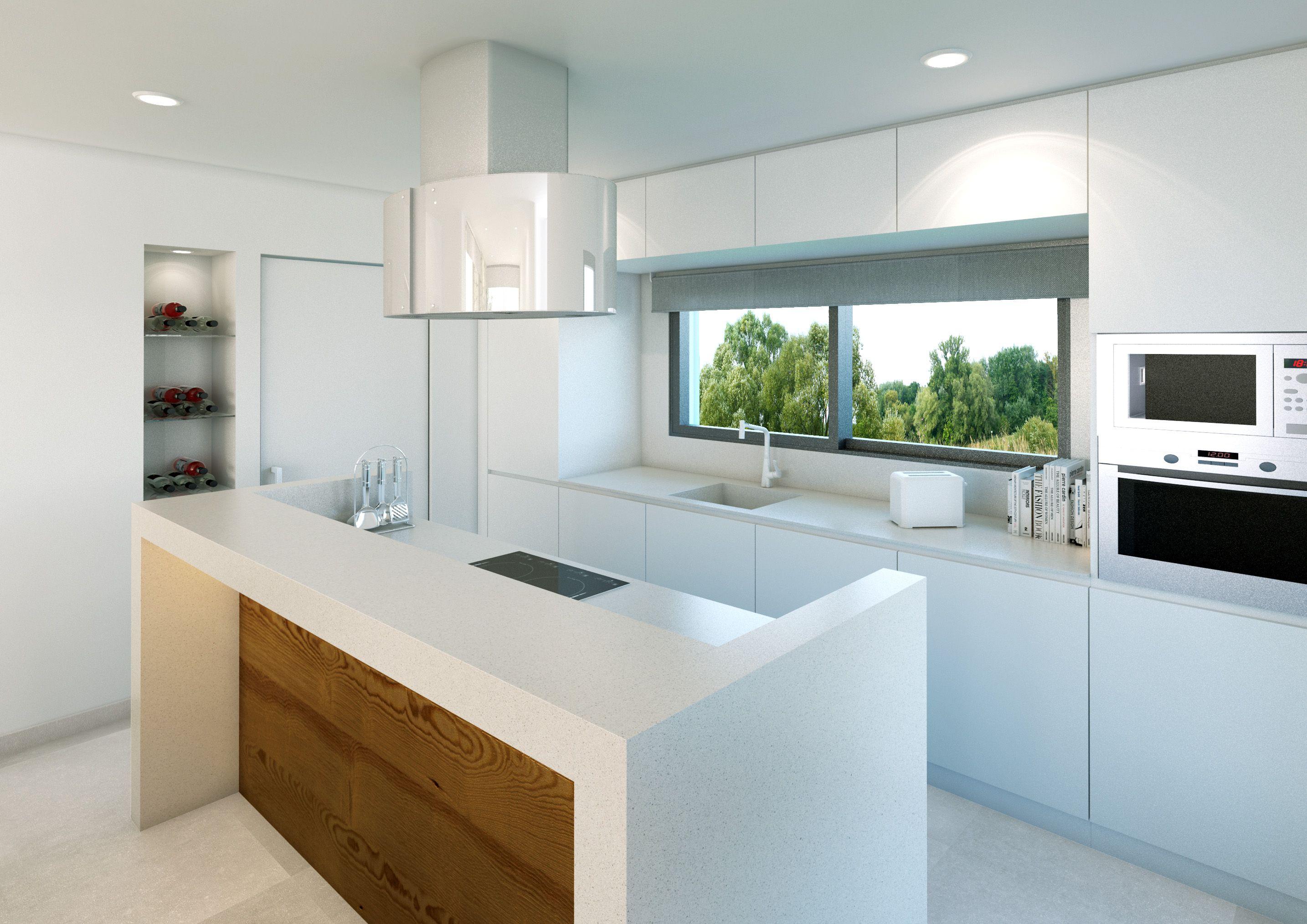 Vista interior cocina de las viviendas unifamiliares de diseño ...