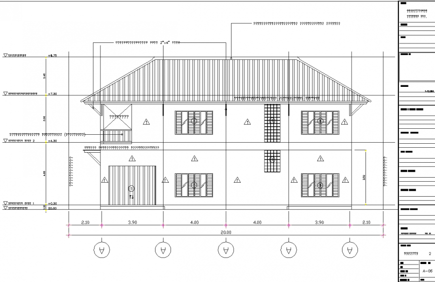 Bungalow With Sloping Roof Elevation Drawing In Dwg File Elevation Drawing Architecture Elevation Elevation