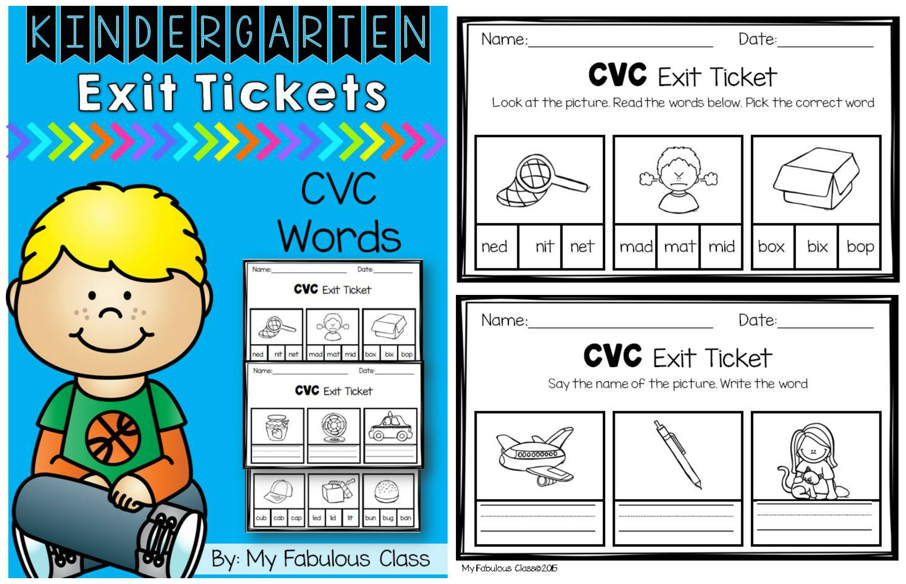 CVC Word Exit Tickets. Perfect for Kindergarten or 1st grade ...
