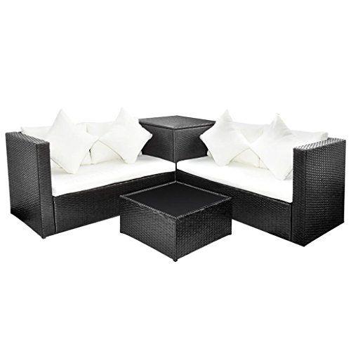 vidaxl ensemble de mobilier de jardin salon de jardin rsine tresse noir - Ensemble Salon De Jardin