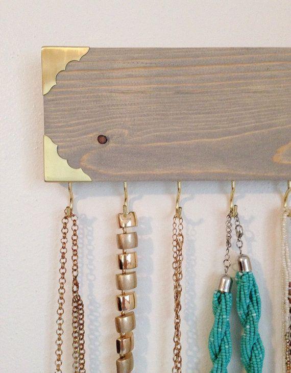 Jewelry Hanger Jewelry Organizer Rustic Gold Metal Edge