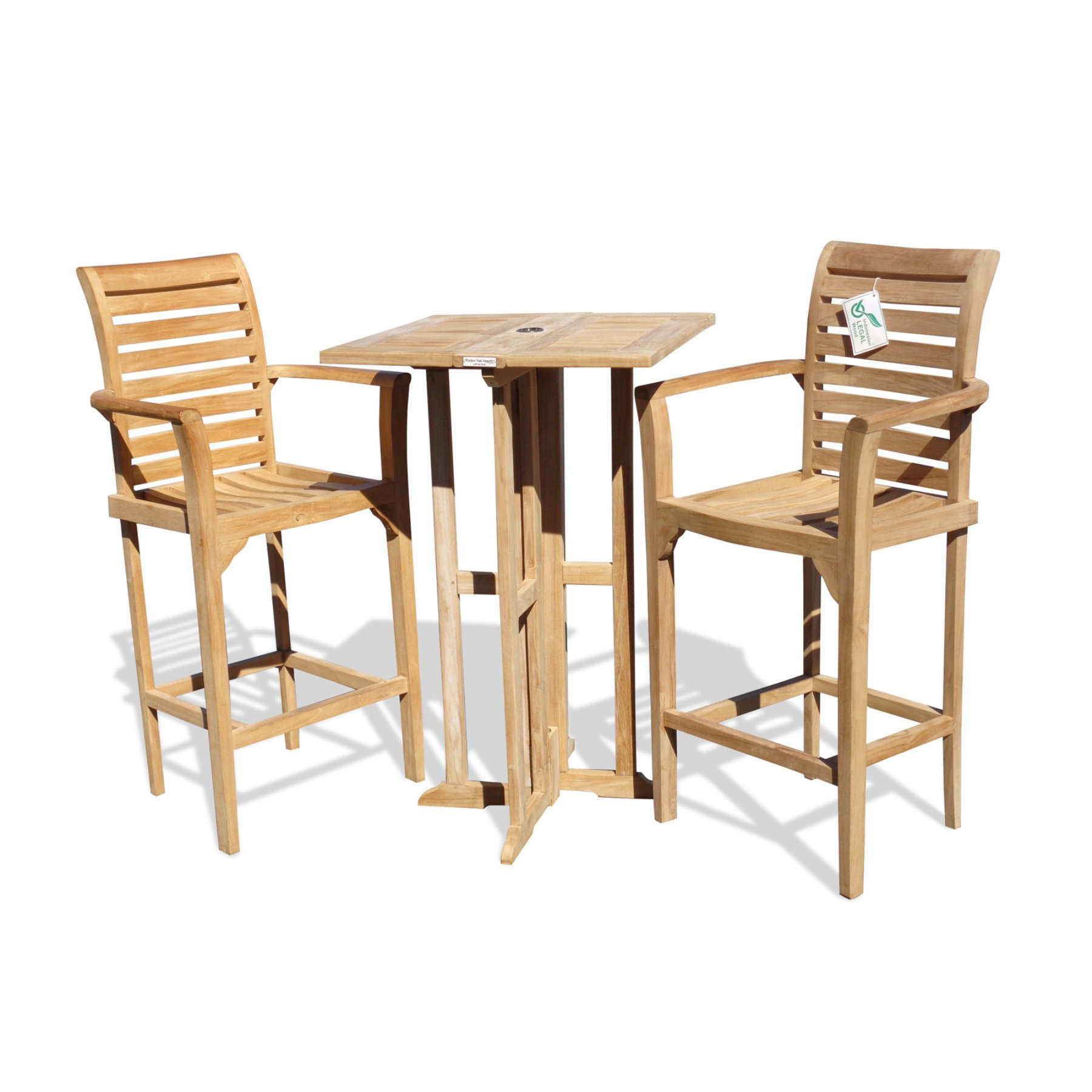 Outdoor Windsor Teak Furniture Bimini Counter Height Teak 3 Piece
