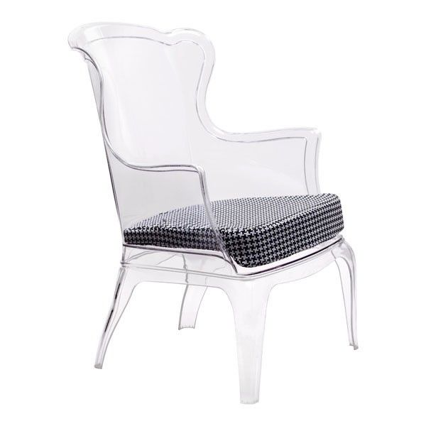 Contemporary Transparent chair made comfortable with a houndstooth print seat cushion.