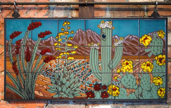 Beautiful One Of A Kind Hand Glazed Tile Mural Depicting The Flora Of The Sonoran Desert Mural Is Set Grouted Ready To Hang Tile Murals Mural Mural Design