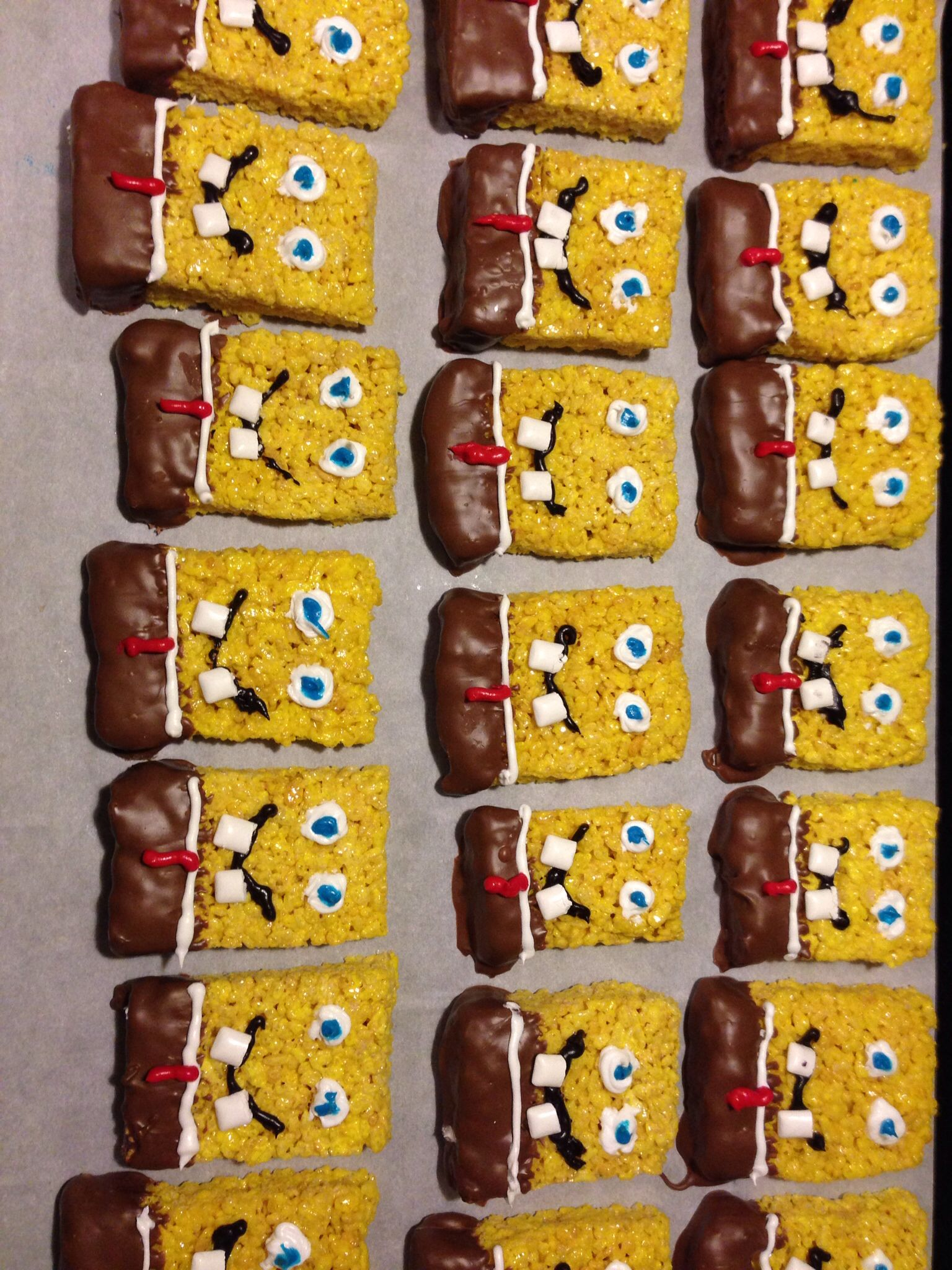 Spongebob rice crispy treats. Make regular rice crispies but add ...