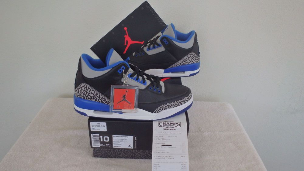 huge selection of b2e24 d6394 ... discount code for new nike air jordan retro 3 iii black sport blue wolf  grey 136064