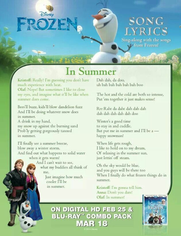Olaf in summer lyrics | Disney songs, Disney lyrics, Disney song