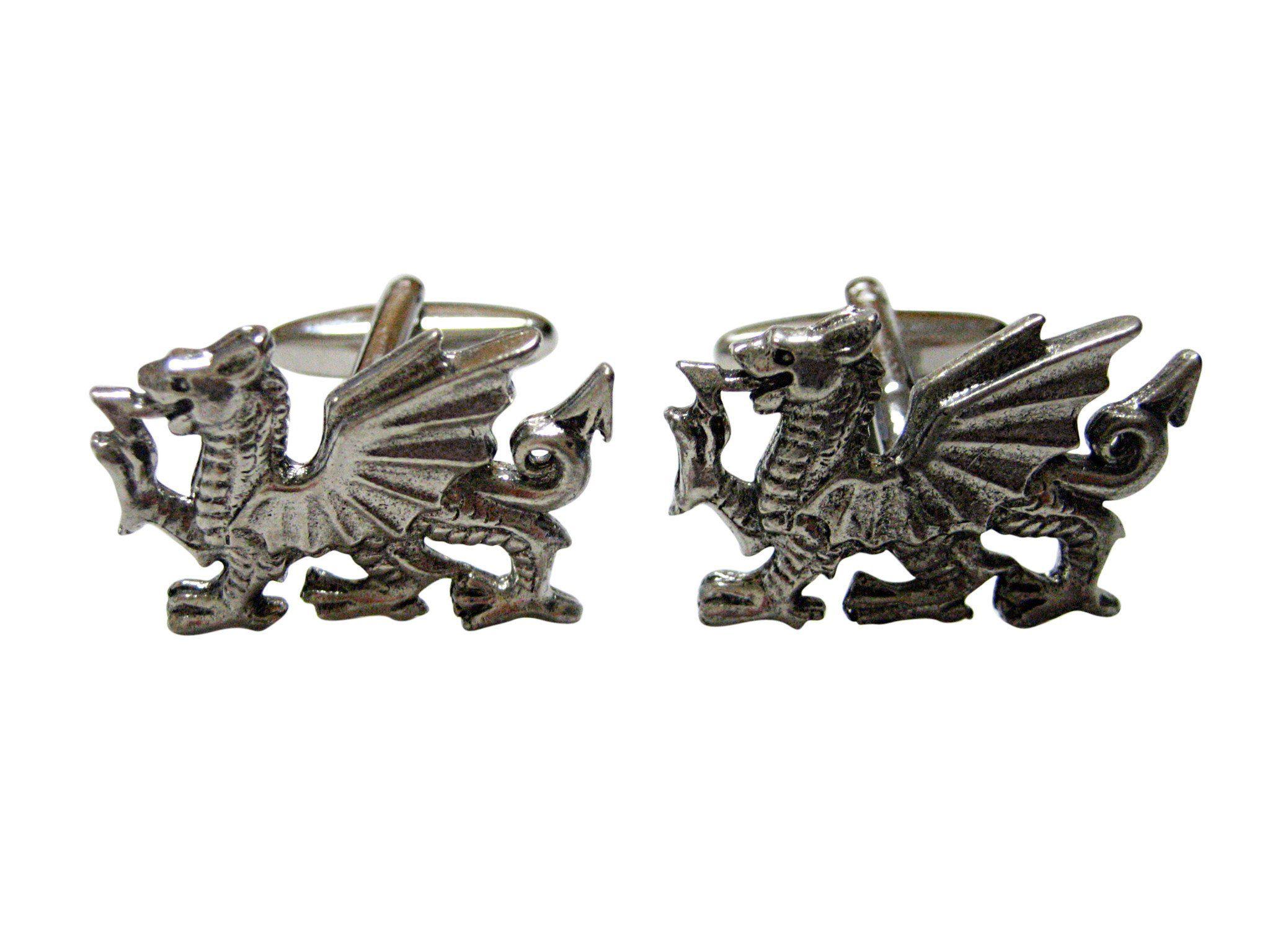 Silver Toned Textured Viking Dragon Head Pendant Cufflinks
