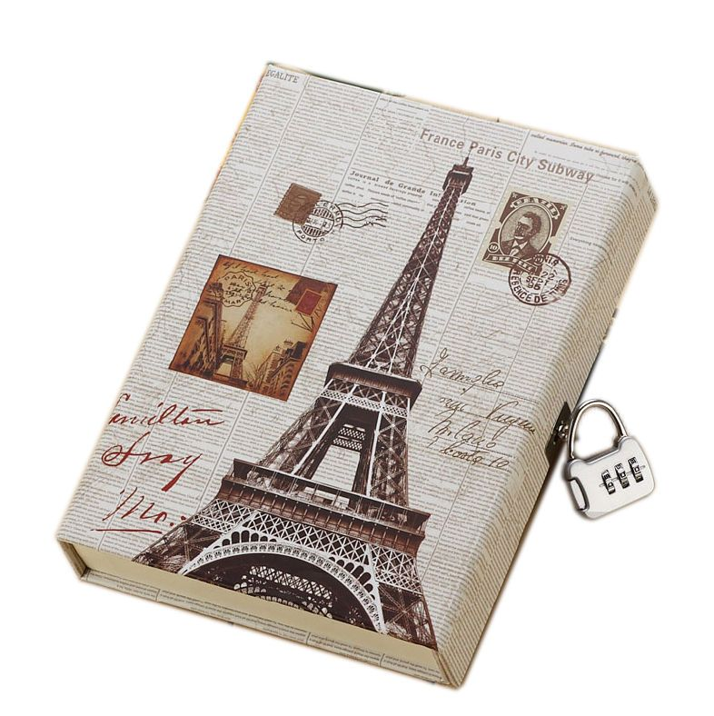 Journal Secret Diary With Lock And Password Code Vintage Eiffel 0080901 Diary With Lock Secret Diary Diy Notebook