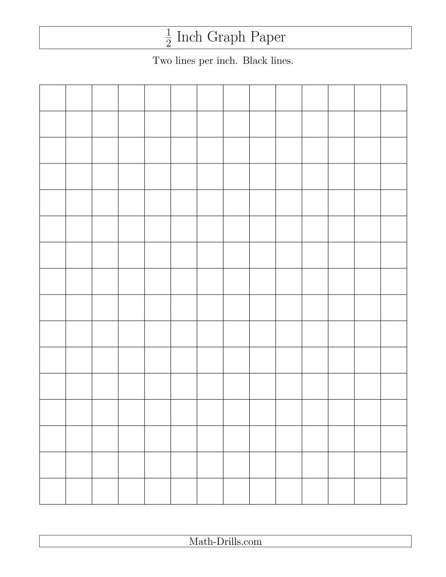 The 1 2 Inch Graph Paper With Black Lines A Math Worksheet From The Graph Papers Page At Math Drills Com Printable Graph Paper Graph Paper Math Drills