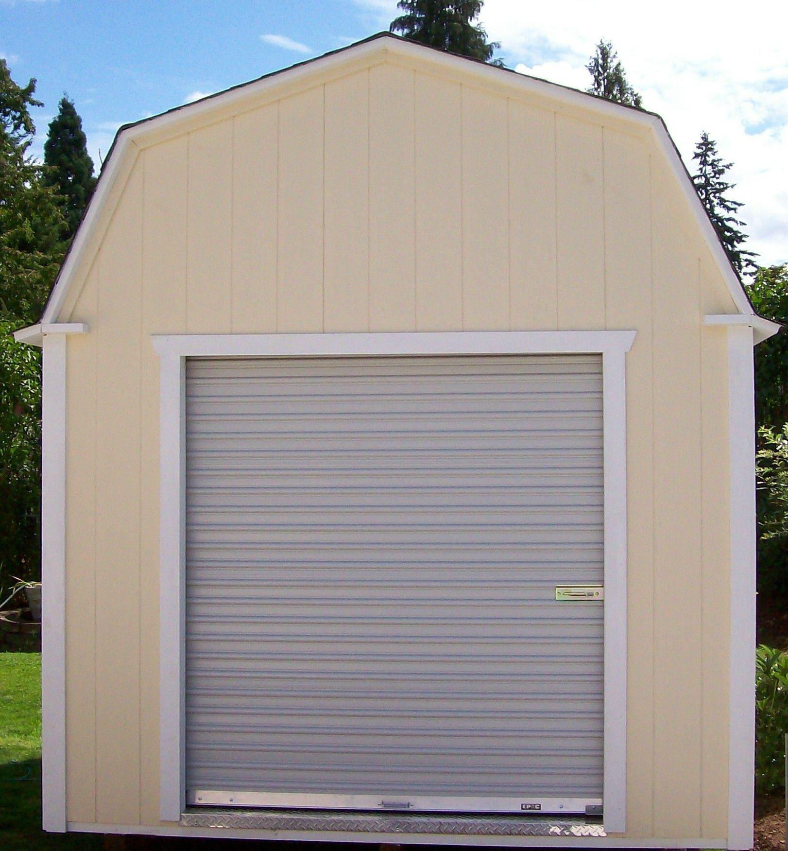 Barn style with roll up door storage garden shed tool for Garden shed with roller door