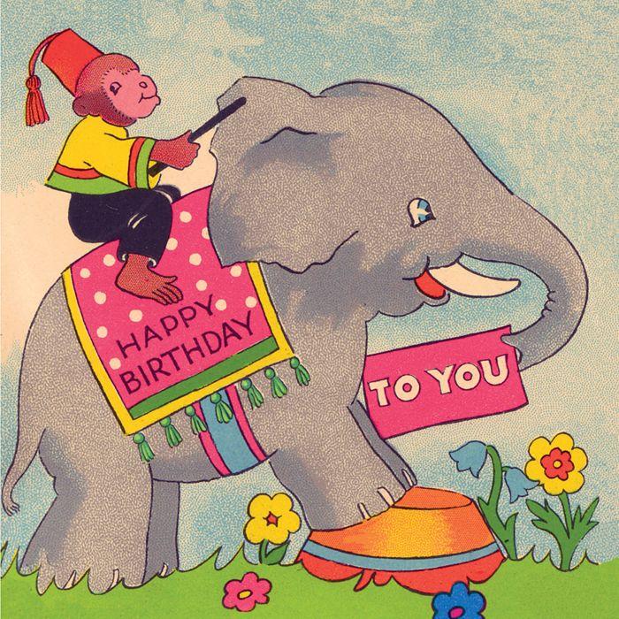 elephant monkey vintage happy birthday card – Monkey Birthday Card