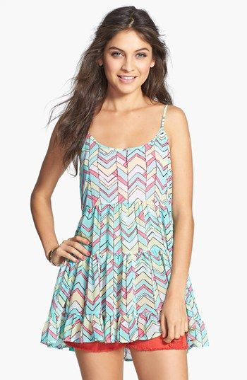 En Crème Back Cutout Tiered Tank (Juniors) available at #Nordstrom