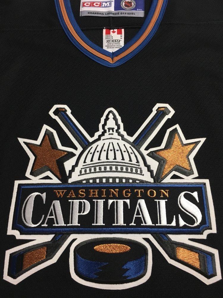 Retro 90s Washington Capitals Black White House Alternate Jersey CCM Size M  (eBay Link) fa79aa45f