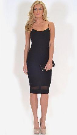 2d8c6198450d Lucie Black Textured Mesh Strip Spaghetti Strap Midi Dress | My ...