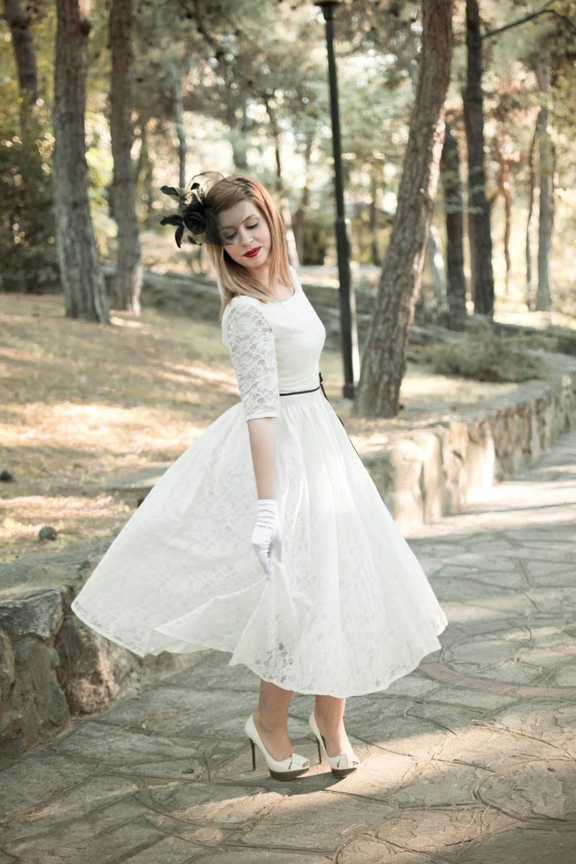 Gorgeous Half Sleeved Tea Length Short Wedding Dress With Black Sash Wedding Dresses Br Wedding Dresses 50s Tea Length Wedding Dresses Lace Wedding Dresses