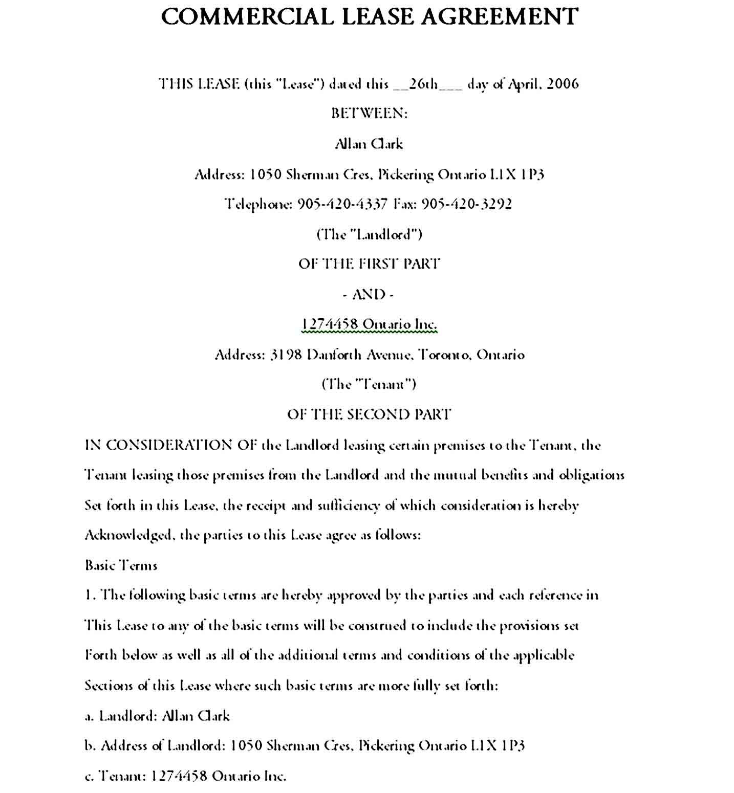 Commercial Lease Agreement Printable Lease Agreement Lease Commercial