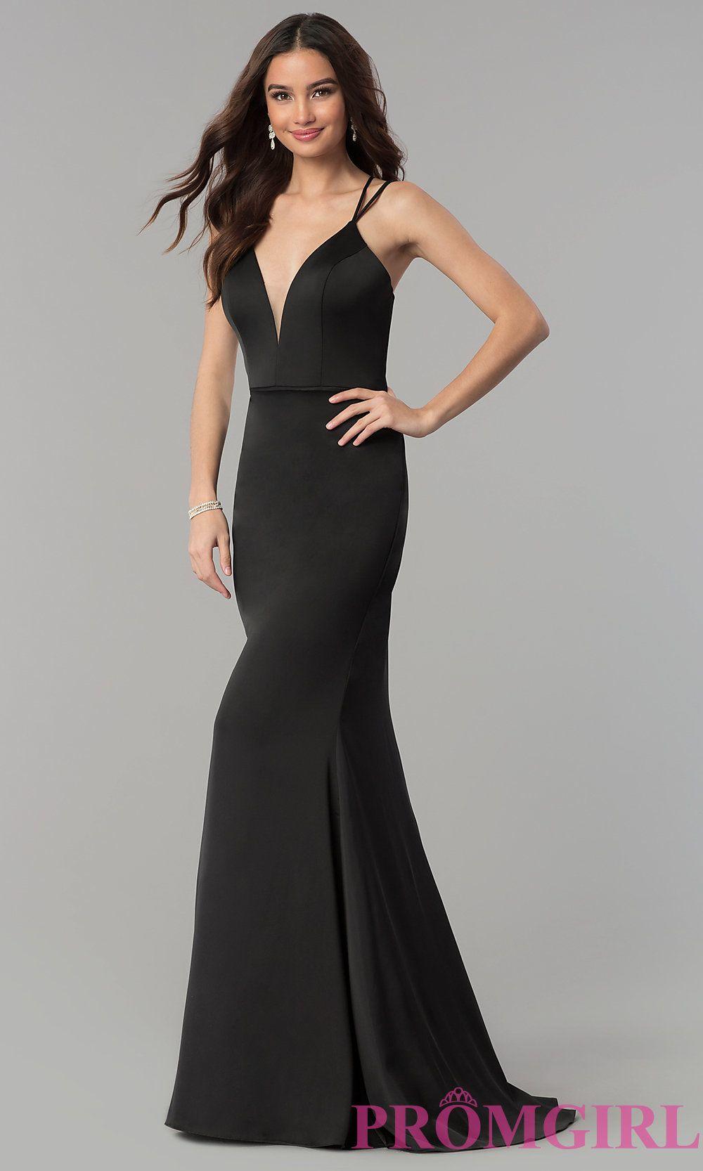 24d35160198 V-Neck Open-Back Long Satin Prom Dress by Faviana in 2019