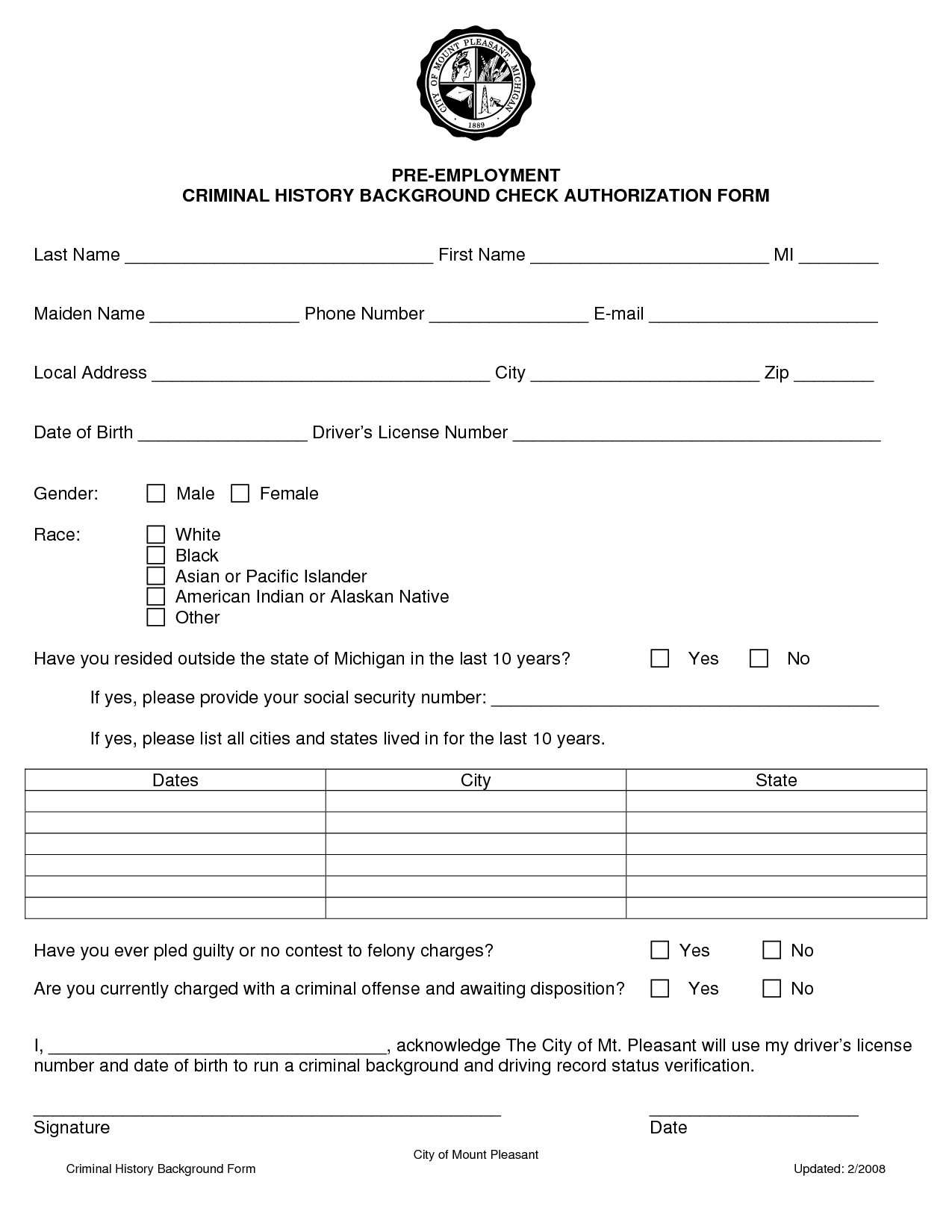 Employment Background Check Consent Form Inquire Before Your Hire