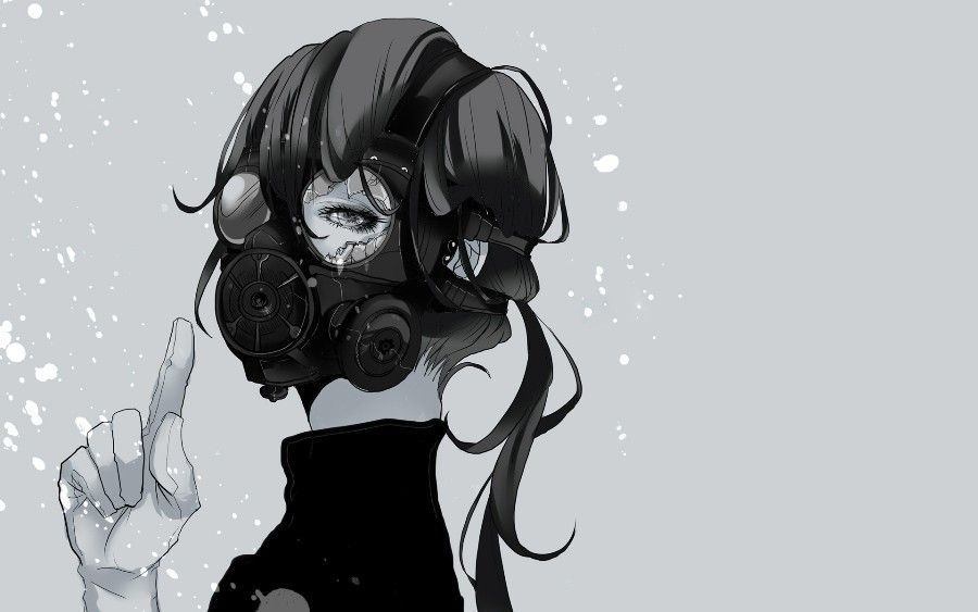 Simple Girl Black White Drawing Art Mask Spray Fragments Canvas Wall Poster Anime Drawings Boy Anime Gas Mask Badass Drawings