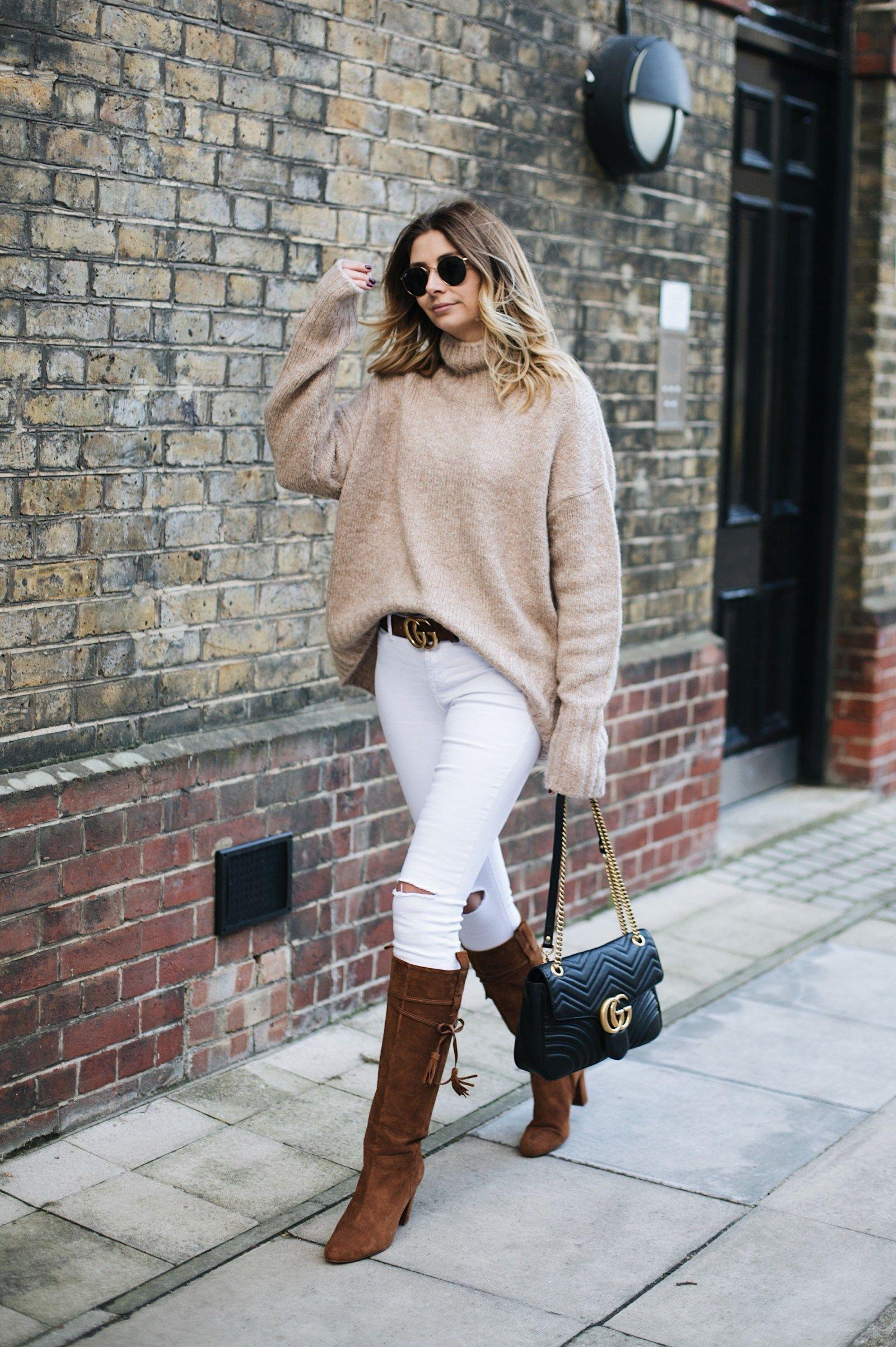 19d13d1e830 Emma Hill wears beige chunky knit
