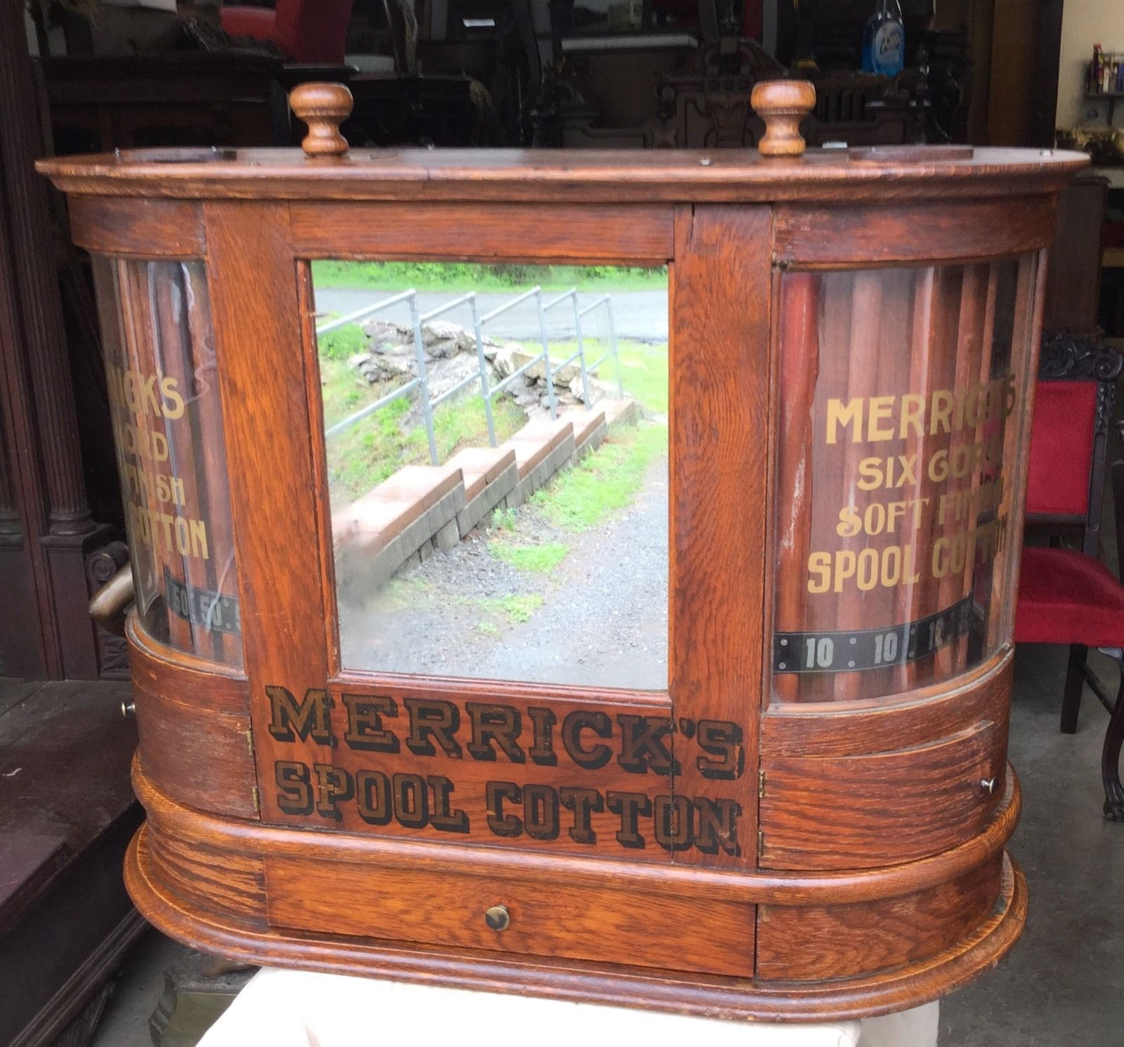 Antique oak Merrick s double oak spool cabinet It measures 25 5